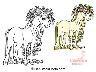 Magical unicorn in a magnificent wreath of roses color and outlined picture for coloring book on white background