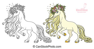 Magical unicorn in a magnificent wreath of roses standing on hind legs color and outlined picture for coloring book on white background