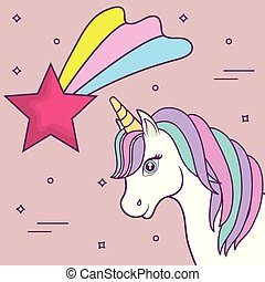 magical unicorns design - magical unicorn and shooting star ...
