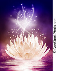 magical water lily in the night - fantasy illustration