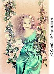 magical world - Beautiful little fairy swinging on a swing...