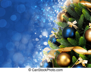 Magically decorated Christmas Tree with balls, ribbons and...