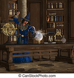 Magician 01 - A wizard makes a magic potion brew in his...