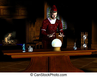 MAGICIAN - A magician sees a prophecy in his crystal ball.