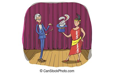 Magician and his assistant girl standing with smiling faces. Moustached man in suit with red cape and top hat. Curly-haired woman in colorful short dress. Circus performance. Flat vector illustration.