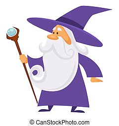 Magician and wizard with scepter, warlock man in robe, ...