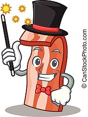 Magician bacon mascot cartoon style vector illustration