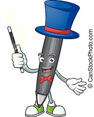 Magician black ballpoint cartoon character with mascot