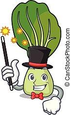 Magician bok choy mascot cartoon