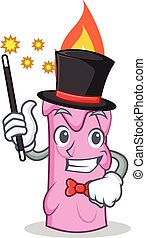 Magician candle character cartoon style vector illustration