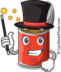 Magician canned food on the tablecloth cartoon