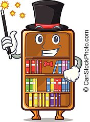 Magician cartoon bookcase in the study room