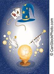 Magician colored background - Magician decorative colored...