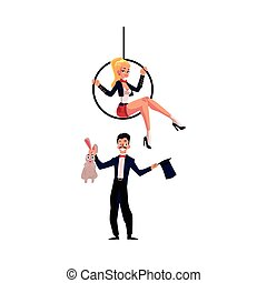 Magician conjuring rabbit out of hat, acrobat on aerial hoop