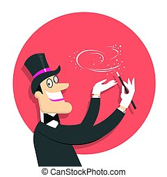 Magician doing a trick with Magic wand. Vector background illustration isolated on white.