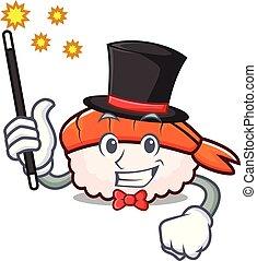 Magician ebi sushi mascot cartoon