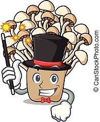 Magician enoki mushroom mascot cartoon