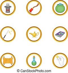 Magician equipment icons set, cartoon style