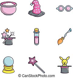 Magician equipment icons set, flat style