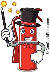 Magician fire extinguisher mascot cartoon
