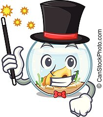 Magician fishbowl in a funny on cartoon