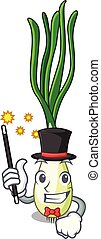 Magician fresh scallion isolated on the mascot vector...