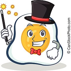 Magician fried egg character cartoon