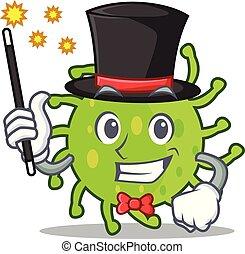 Magician green bacteria mascot cartoon vector illustration