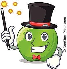 Magician green smith apple isolated on cartoon