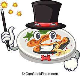 Magician grilled salmon on a cartoon plate
