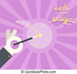 Magician hand white glove holding magic wand show poster template flat design vector illustration