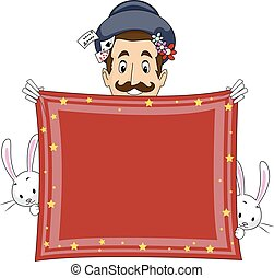 Illustration of a Magician Holding a Banner Made from a Handkerchief