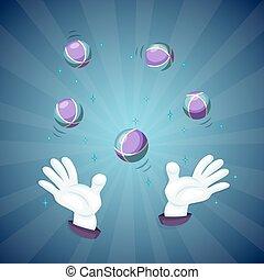 Magician hands show magic trick