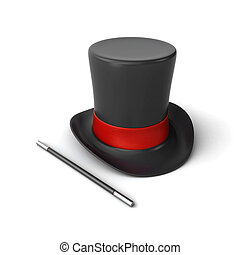 Magician hat with magic wand on the white background (3d render)