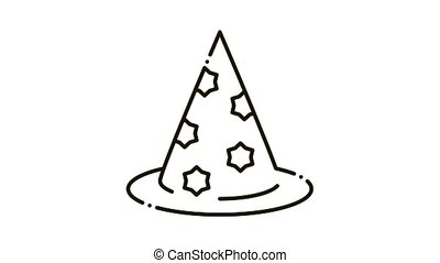 Magician Hat Icon Animation. black Magician Hat animated icon on white background