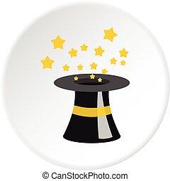 Magician hat icon circle