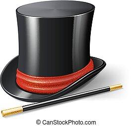Magician Hat Realistic - Realistic magician hat with magic...