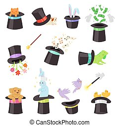 Magician hat vector illusionist show with animal character cat dog playing cards in magical hat illustration set of cartoon magic show with bunny birds illusion isolated on white background