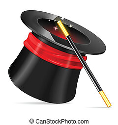 Magician Hat with Magician Wand, vector icon isolated on...