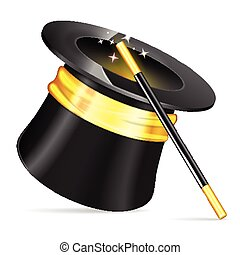 Magician Hat with Magician Wand, vector icon isolated on white background