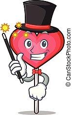 Magician heart lollipop mascot cartoon vector illustration