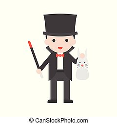 Magician holding wand and rabbit, Set Profession character of people in uniform, flat design