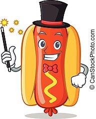 Magician Hot Dog Cartoon Character