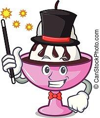 Magician ice cream sundae mascot cartoon vector illustration