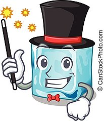 Magician ice cubes on the cartoon funny
