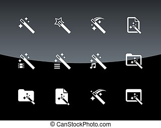 Magician icons on black background.
