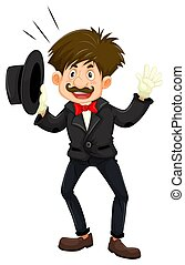 Magician in black tuxedo