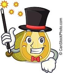 Magician jackfruit mascot cartoon style