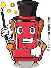 Magician king throne mascot cartoon