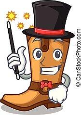 Magician leather cowboy boots shape cartoon funny